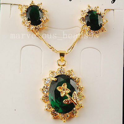 Green Crystal Faceted Beads Teardrop Necklace Earrings Stud Set G5917