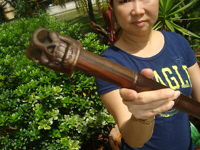 GORGEOUS HANDCARVED MAHOGANY 40 INCH LONG SKULL WALKING STICK! AWESOME DETAIL!