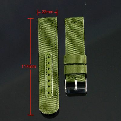 New INFANTRY ARMY Olive Green Canvas Nylon Men Sport WRIST WATCH STRAP BAND 22MM