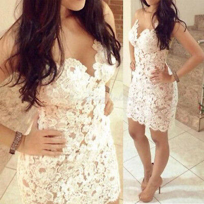 White Backless Lace Club Party Cocktail Bodycon Womens Fashion Sexy Mini Dress L