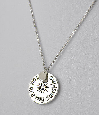 Simple YOU ARE MY SUNSHINE English Love Letter Charm Necklace Pendant Lover Gift