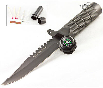 "9"" TACTICAL COMBAT HUNTING SURVIVAL KNIFE w/ SHEATH MILITARY Bowie Fixed Blade"