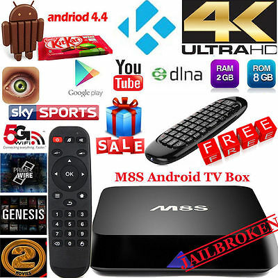 Wireless Keyboard OR KODI Smart Android 4.4 M8S TV Box Quad Core Fully Loaded 5G
