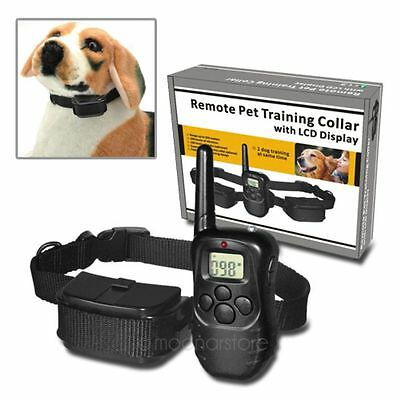 LCD 100LV Level Remote Electric Shock Vibrate Pet Dog Training Collar 300 Yards