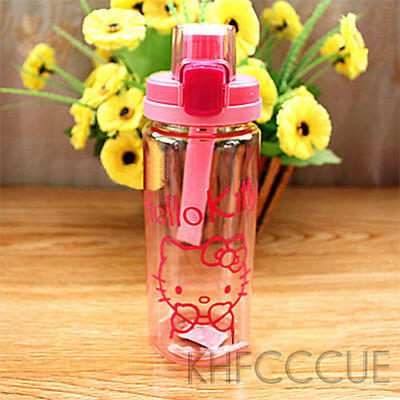 Hello Kitty Cute Light Pink Hand Carry Plastic Water Cover Lock Bottle 550ml K43