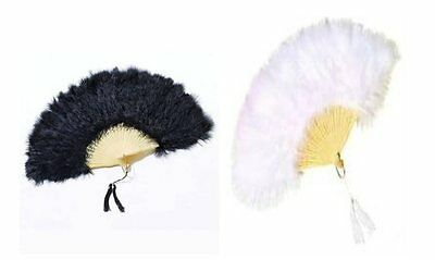 Burlesque Spanish Feathered Fan Fancy Dress Costume Accessory