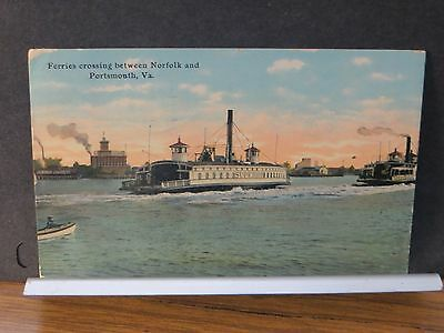 1912 Ferry SUPERIOR Norfolk, VA Naval Cover to Portsmouth, Virginia