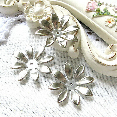 Silver flower bead caps metal pendant - filigree stamping 30mm 10PCS 1-21-57