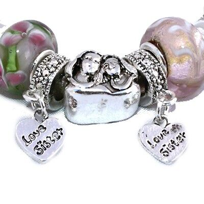 Gift for Sister Sisters Love Hearts Floral Pink Charm Charms Silver Bracelet