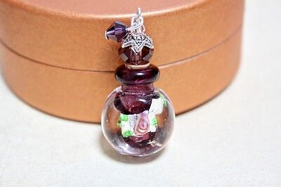 Purple Glass  Vial Murano Perfume Bottle Silver Copper Flower Charms Cap P294