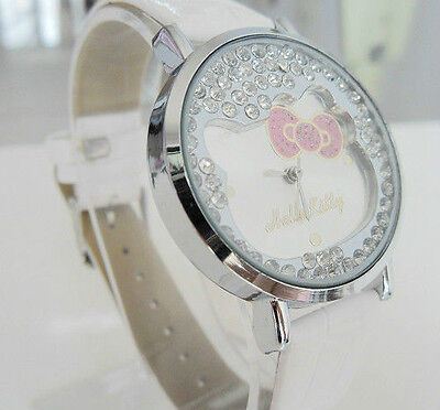 New White Hellokitty Lady and Girl Fashion Crystal Stone Quartz Wrist Watch