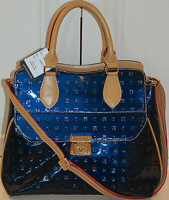 NWT ARCADIA Vernis Leather Tote Ocean Blue Satchel Shoulder Bag MADE IN ITALY