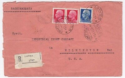 Italy Laives to Us Wilimington DE 1931 Registered Cover