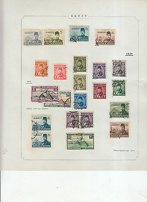 EGYPT 1939-54  VALUES/SETS MINT/ USED INC COVER 2  ALBUM PAGES