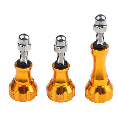 3x Gold Metal Aluminum Thumbscrew Knob Bolt Nut For Gopro HD Hero 1 2 3 3+ 4