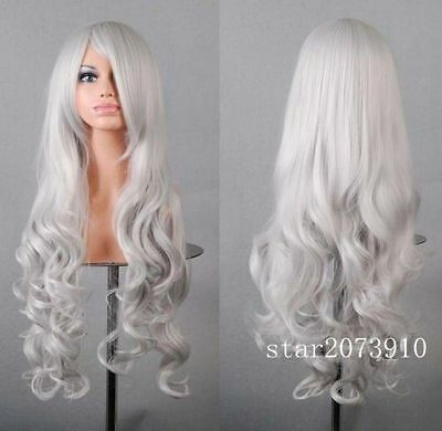 Sexy women's fashion long curly wig wavy silver hair wig Cosplay Party Wigs