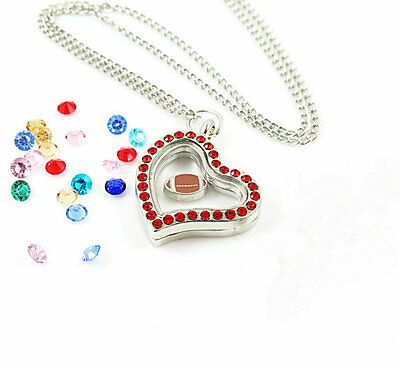 Living Floating Charm Memory Heart silvery Locket Necklace /13pcs charm A04