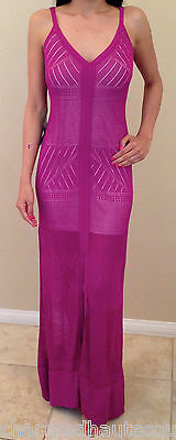 Bebe Purple Strappy Mesh Slit Fron Long Maxi Summer Beach Dress Gown Large SEXY
