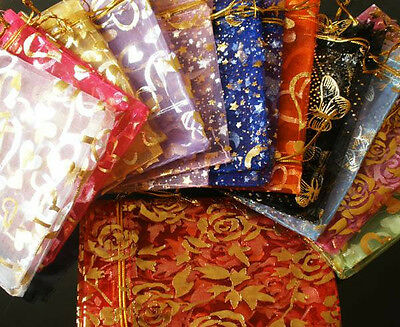 """50PCS Mixed Color Pattern Drawstring Organza Wedding Gift Pouch Bags 9x6.5"""" a"""