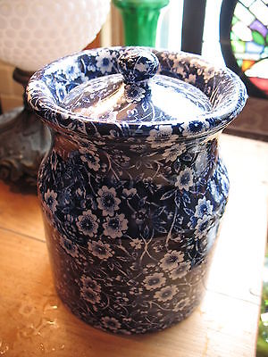 STUNNING   CANISTER  WTH  LID  STAFFORDSHIRE  BURLEIGH CALICO BLUE AND WHITE