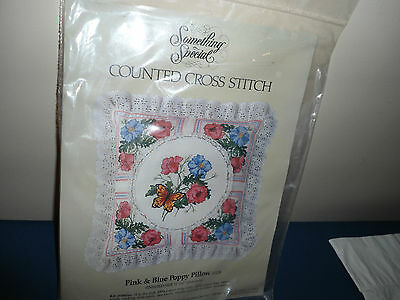 COUNTED CROSS STITCH KIT,PINK & BLUE POPPY PILLOW OR WALL,12 X 12 PLUS LACE