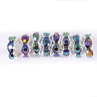 100pcs Round Crystal Rhinestone Findings Diy Beads Spacer 6mm Blue AB Color