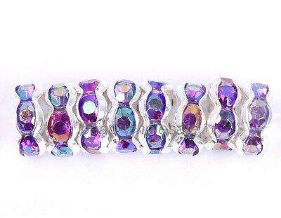100pcs Round Crystal Rhinestone Findings Diy Beads Spacer 6mm Purple AB Color