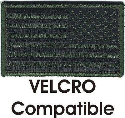 Green and Black Reverse Hook Fastener American US Flag Patch