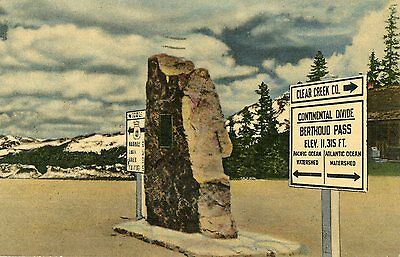 MARKERS AT THE SUMMIT OF BERTHOUD PASS COLORADO ON HIGHWAY US.40 LINEN POSTCARD