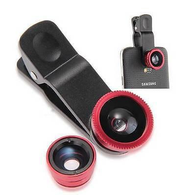 3in1 Clip Wide Angle Macro Camera Photo Lens Fish Eye For Smartphone Red