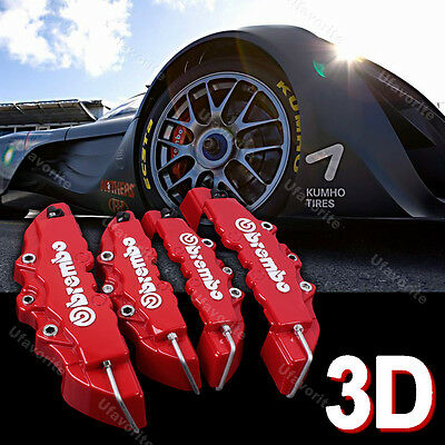 3D Car Brake Caliper Cover Brembo Style Front Rear Universal Disc Racing Red p14
