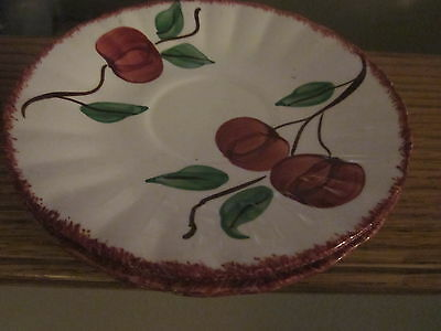 Lot of 4 Vintage Southern Pottery Plates/Saucers Sponge Crab apple?  OLD Nice!