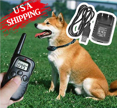 Waterproof Rechargeable LCD Remote Electric Shock Vibrate Dog Training Collar