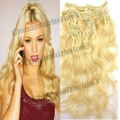 New Come18inch 7Pcs Light Blonde Clip on Remy Human Hair Extensions Curly Wavy