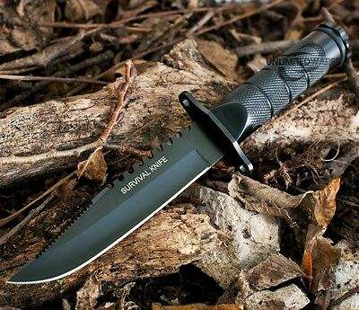 """8.5"""" SURVIVAL COMBAT TACTICAL HUNTING KNIFE w/ SHEATH MILITARY Bowie Fixed Blade"""