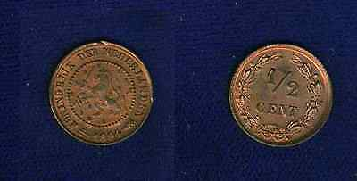 NETHERLANDS   1894   1/2 CENT  COIN  ALMOST UNCIRCULATED+