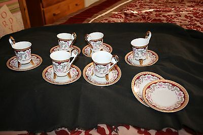 L.T.R.  FINE PORCELIAN Collection  GOLD Plated Cup And Saucer-Set Of 6