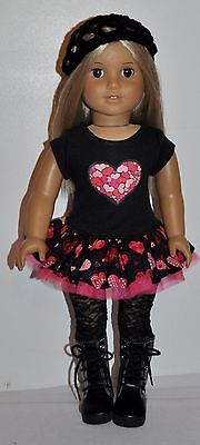 """AMERICAN MADE DOLL CLOTHES FOR 18 INCH GIRL DOLLS DRESS LOT """"HEARTS"""""""