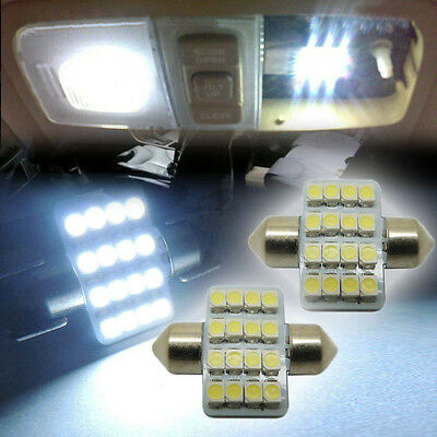 """2x White 1.25"""" 31mm 16-SMD-5050 DE3175 LED Lights For Interior Dome Map 1016 KEQ"""