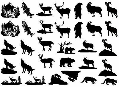 "Black Rocky Mountain Animals 5""X7"" Card Fused Glass Decals 15CC453"
