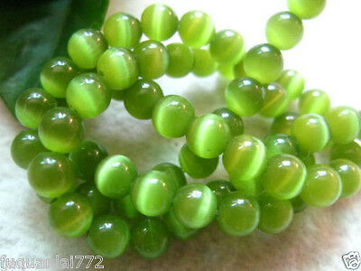 New 8mm Mexican Olive Green Opal Cat Eye Stone Gemstone Loose Beads 15""