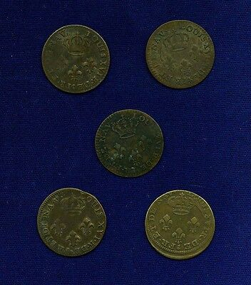 """FRANCE  FRENCH GUIANA """"CAYENNE"""" 1789-A  2 SOLS COINS, GROUP LOT OF (5)"""