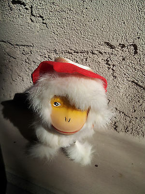 Vintage White Furry Dog in Hat Wind-Up WORKING! Made In Japan