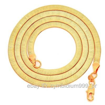 """22"""" Gold Plated 4mm HERRINGBONE Snake Chain Necklace Link Lobster Clasps"""
