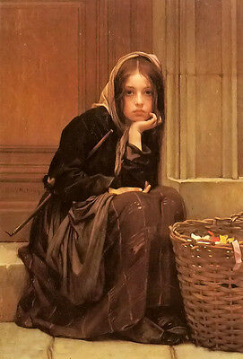 """Beautiful Oil painting christen brun - a basket of ribbons young girl seated 36"""""""