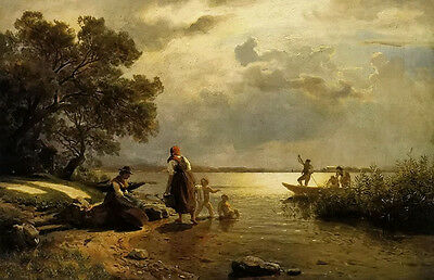 Oil painting hans fredrik gude - mothers and children on the shore of lake dusk