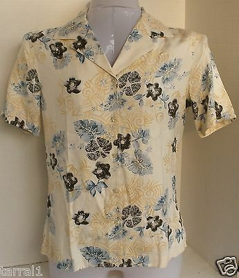 Nwt $92 Tommy Bahama Size 2 XS Rustic Paradise Silk Camp Shirt 80% Off Retail