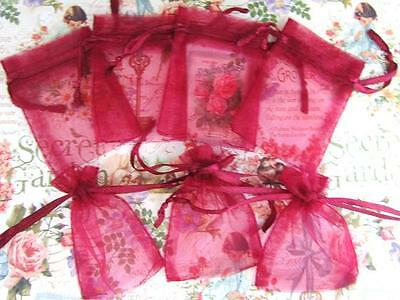 """100 Drawstring 2x3"""" Small Organza Gift Bags/Holiday Party/Pouch/Red NO1-Burgundy"""