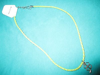 NEW jewelry Necklace four leaf clover shamrock green braid leather cord necklace