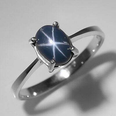 Big Sales! Natural Blue Star Sapphire Sterling 925 Silver Ring Size 8/R5875